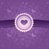 abstract love background with ribbon and badge