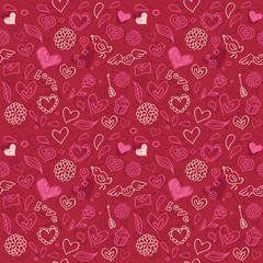 vector seamless love pattern  in doodle style
