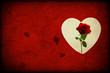 Texture rossa con cuore bianco e rosa rossa