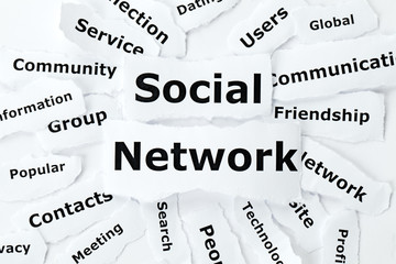 Social network concept make of paper scraps