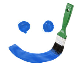 smile paint drawing with brush isolated on white background