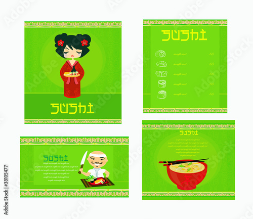 template of traditional Japanese food menu set