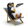 3d Penguins waves from his deckchair