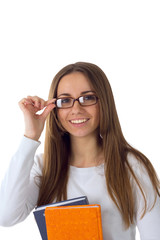 smiling beautiful student with books on white background