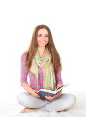Happy female student with notebooks
