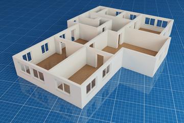 Grundriss Erdgeschoss auf Blaupapier