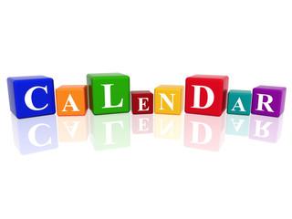 calendar in 3d cubes