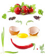 Collection of vegetables and a broken egg