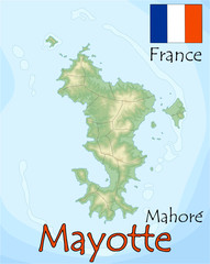 Mayotte france island map flag emblem