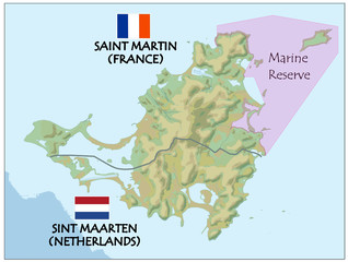 saint martin island netherlands france map flag
