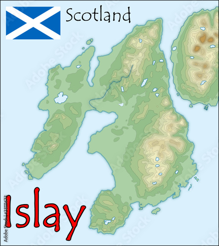 islay scotland map flag emblem