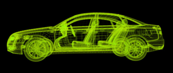 Glowing wireframe of a car 3d model.