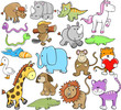 Cute Animal Wildlife Vector Design Elements Set
