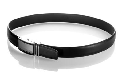 men's leather belt isolated on white