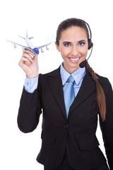 cheerful  phone operator on airport