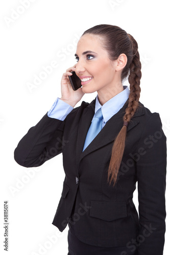 confident businesswoman using  phone