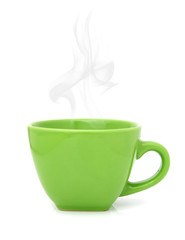 Green cup with hot drink on white background