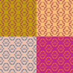 Set of 4 seamless damask pattern.