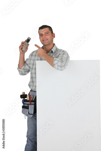 Handyman promoting his business