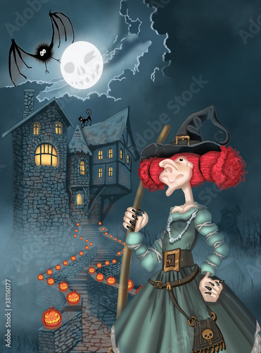 Illustration of the castle and the witch for Halloween