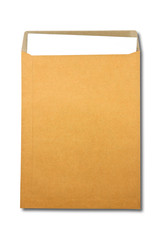 Brown Envelope document with paper on white background