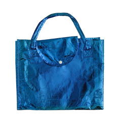 Blue shopping bag isolated on a white with clipping path