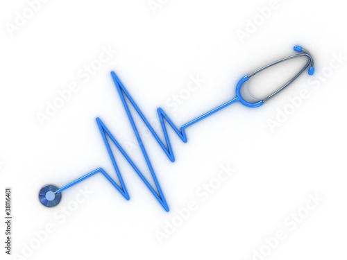 Stethoscope and cardiogram, 3D