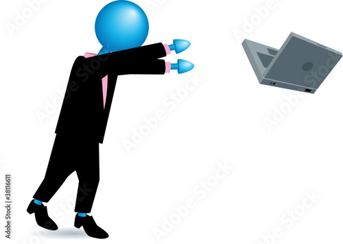 lady throwing her laptop-blue heads