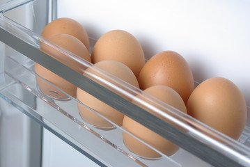 Chicken eggs in the fridge