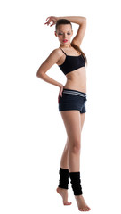 cute young woman posing in fitness cloth