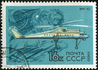 USSR - CIRCA 1969: A stamp printed by USSR shows  military trans