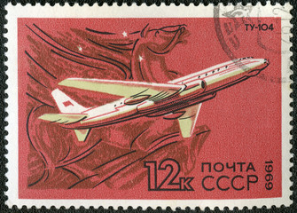 USSR - CIRCA 1969: A stamp printed by USSR shows  turbojet-power