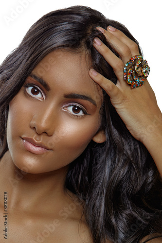 tanned beauty with a ring