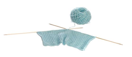 light blue knitting and wool