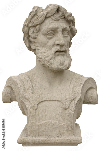 Ancient bust of the head of the old philosopher