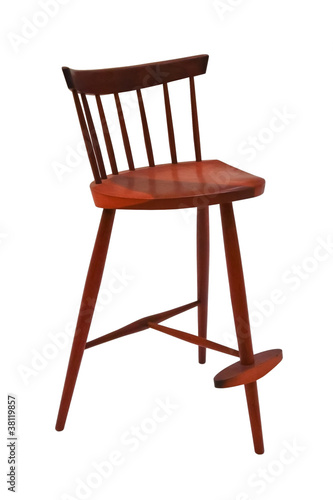 Three legged wooeden chair isolated on white background