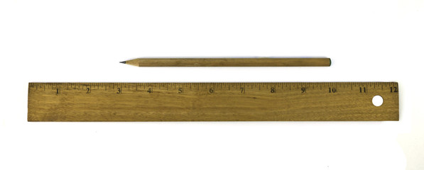 Ruler and pencil isolated on white background