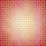 Gold hearts on red background