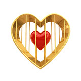Red heart in golden cage , isolated on white