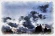 Quadro Case tetti nuvole cielo smog