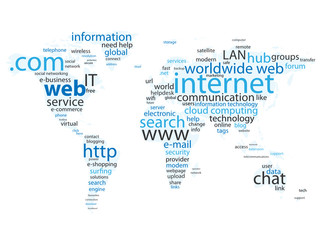 """WEB"" Tag Cloud (world map global internet website http www)"
