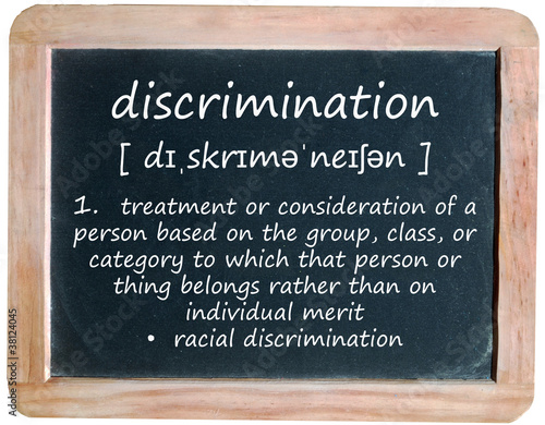 DISCRIMINATION definition on blackboard (equal rights law human)