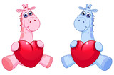 Baby giraffes holding hearts