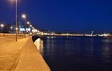 Embankment of Neva river at night poster