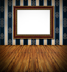old stylish vintage golden frame on dark blue rich  textile deco