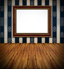 old stylish vintage golden frame on dark blue rich  textile deco