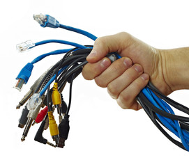 Different cables in man's hand