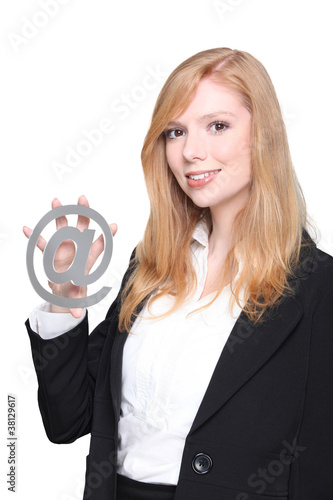 Woman holding at symbol
