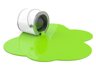 Spilled green paint. 3D model