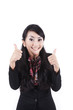 Attractive beautiful businesswoman thumbs up